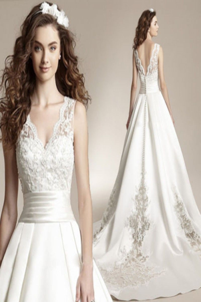49++ Satin ball gown wedding dress with plunging v neck ideas in 2021