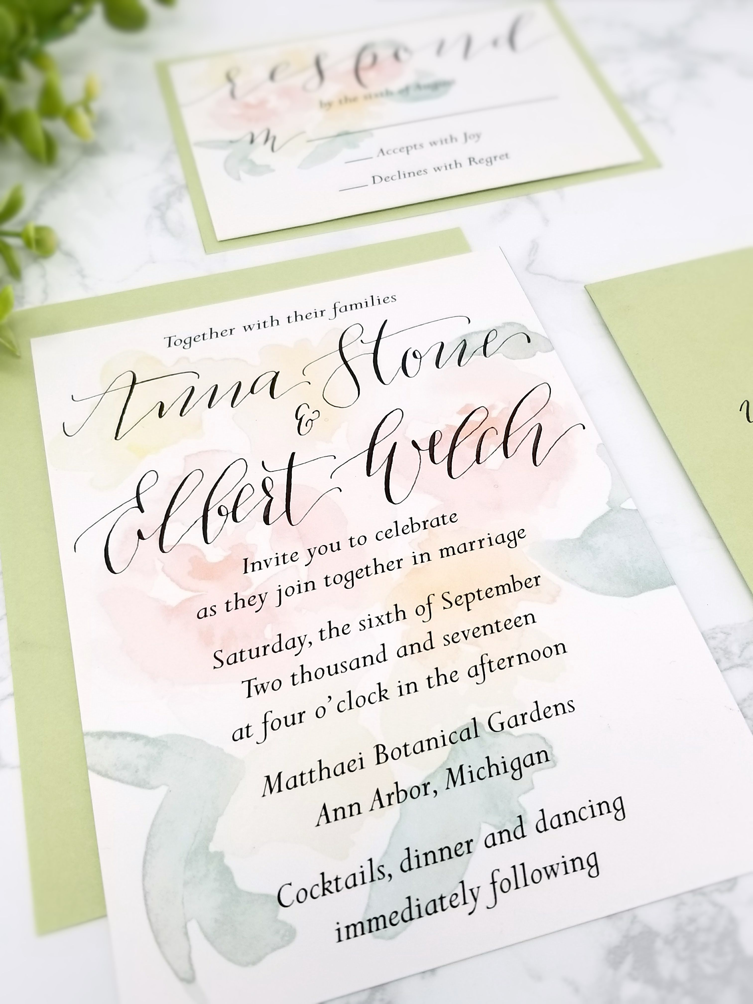 Sage + Pink Floral Watercolor Hand Written Calligraphy Invitation ...