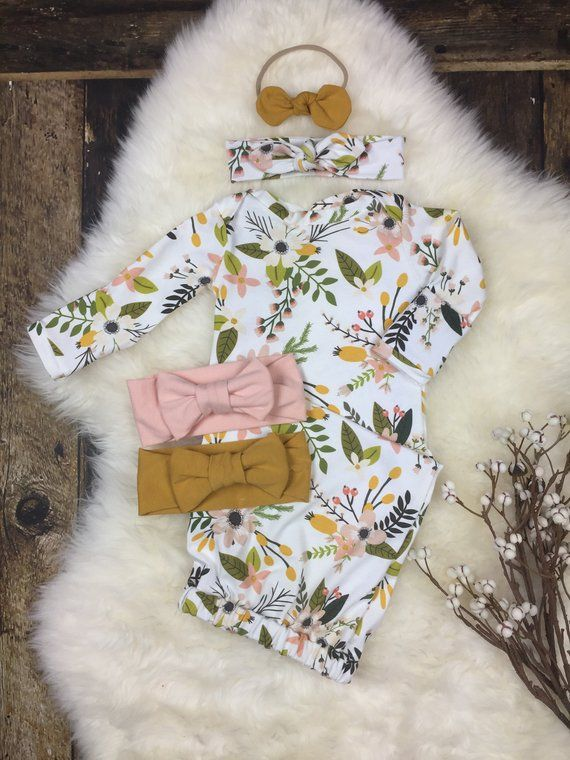 Photo of Newborn girl coming home outfit, Baby girl layette gown, baby take home outfit in Sprigs & Blooms, newborn sleeper, premie girl, baby shower