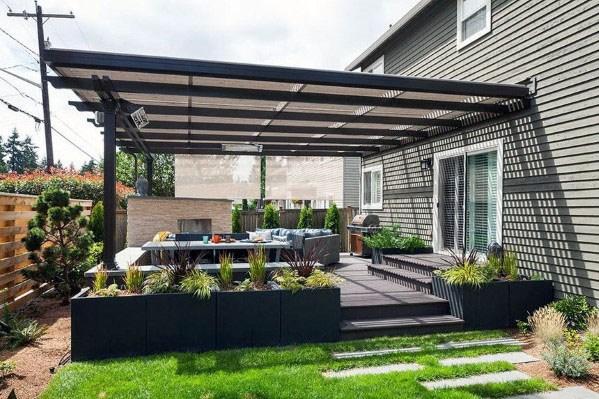 Top 50 Best Modern Deck Ideas Contemporary Backyard Designs Backyard Design Pergola Modern Pergola
