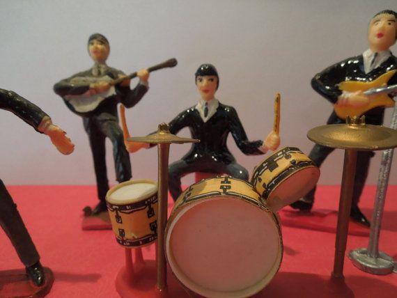 Vintage 1960's The Beatles Cake Topper Set by LemonIceBoxPie, $32.50