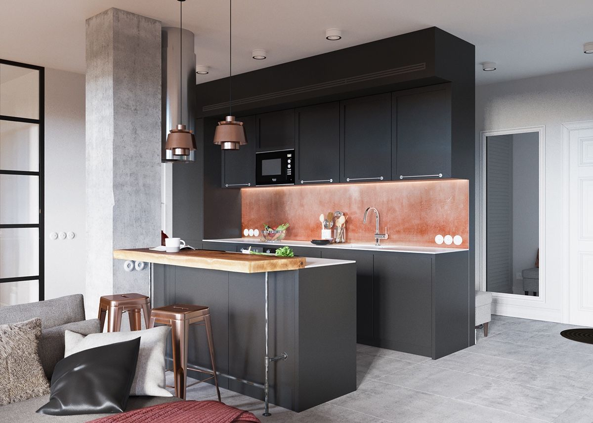 One Wall Kitchen Floor Plans A Beautiful One Bedroom Bachelor Apartment Under 100 Square Meters
