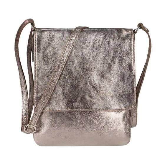Photo of OBC Made in Italy Damen Leder Tasche Umhängetasche Crossbody kl.VP.Champagne