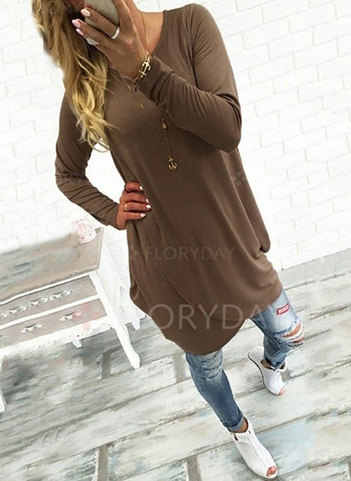 Dresses - $39.99 - Cotton Solid Long Sleeve Above Knee Casual Dresses (1955112454)