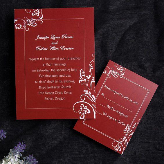 Wine Simple Border Wedding Invitation Vpn110 Vpn110 Cheap