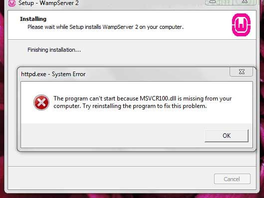 خطای msvcr dll بیشتر بعد از نصب ومپ سرور رخ میدهد خطای the program cant start because MSVCR110.dll is missing the program cant start because MSVCR100.dll...