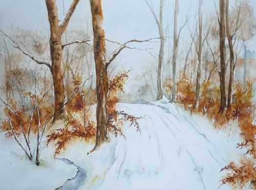 Aquarelle Paysage Neige Foret Arbres Chemin Hiver Watercolor