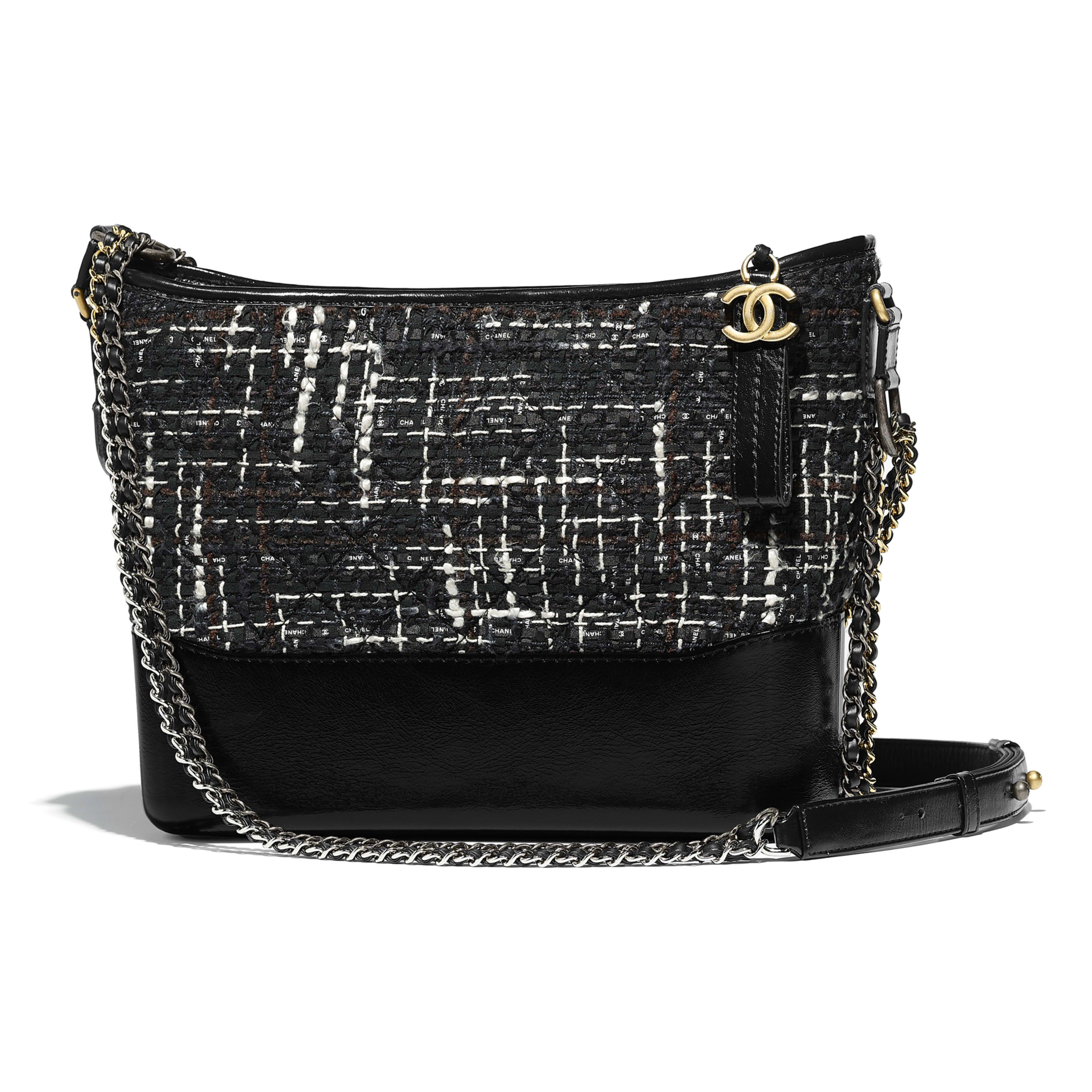 bba5c539f997fd CHANEL'S GABRIELLE Hobo Bag Tweed, Calfskin, Silver-Tone & Gold-Tone Metal  Black, Navy, Brown & Ecru $4500
