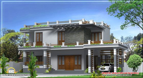 Contemporary Kerala House Plan At 2000 Sq.ft , Modern Contemporary Kerala Home  Design   2270 Sq.
