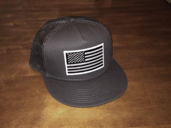 Black and White AMERICAN FLAG/CHARCOAL Trucker Hat, Snapback