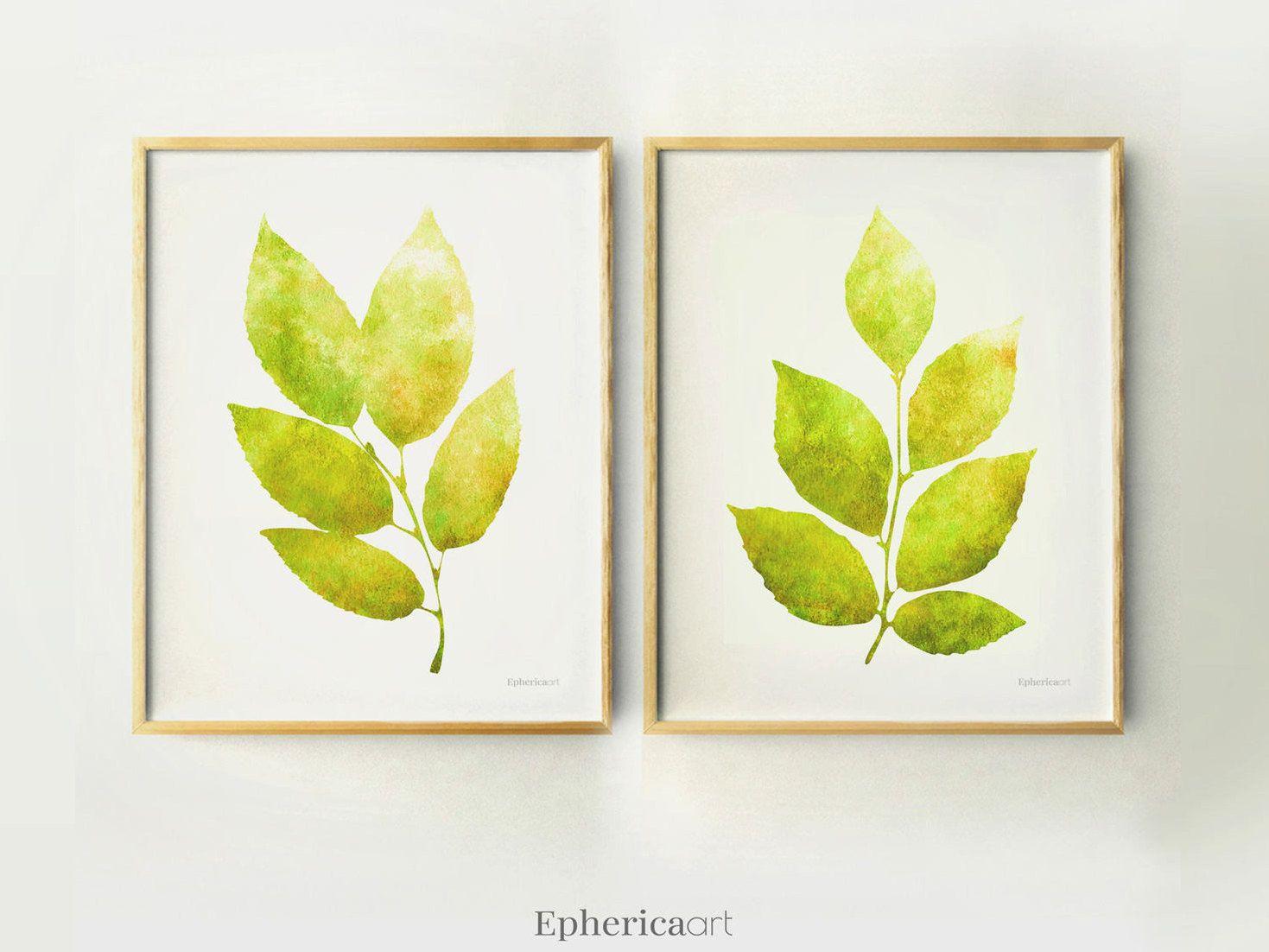 Set 2 Leaves art prints 11x14 Home Printable Botanical art set ...