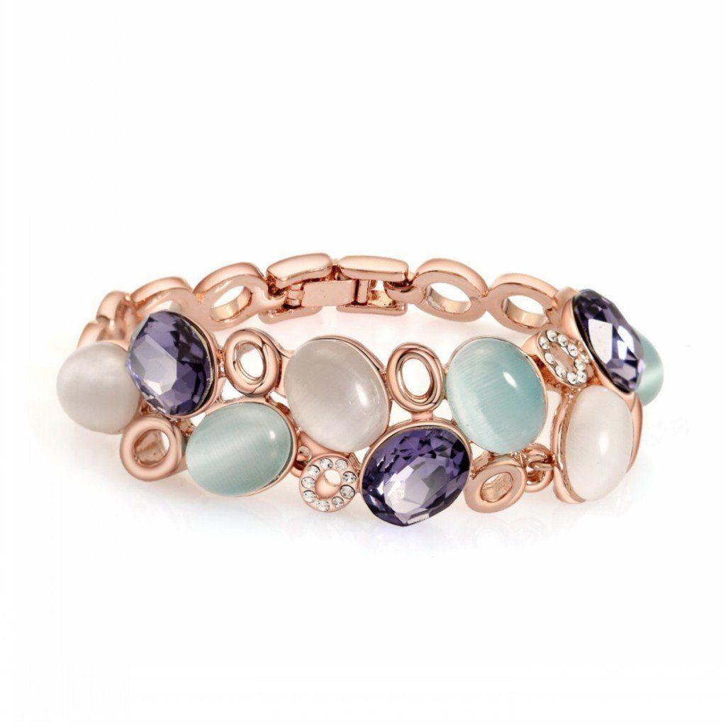 Shally Women\'s 18K Rose Gold Plated Bracelet Cat Eyes Jewelry ...