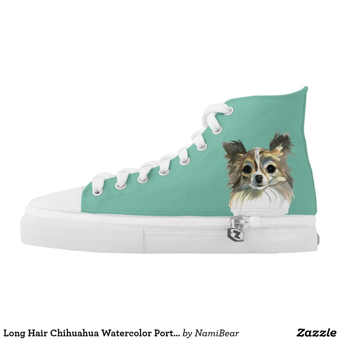 Long Hair Chihuahua Watercolor Portrait High Top Sneakers. This is a detailed watercolor painting of a face of a long hair chihuahua dog. It has light and dark brown fur and white chest.