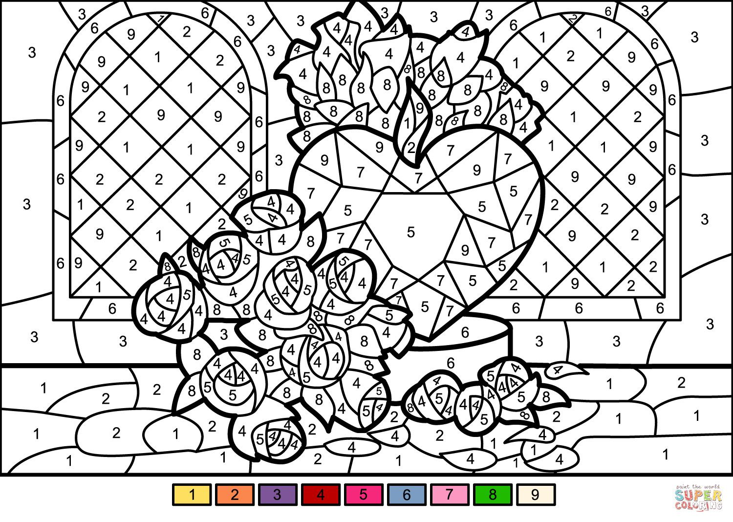 4 Color By Number Worksheet Online In 2020 Unicorn Coloring Pages Color By Number Printable Heart Coloring Pages