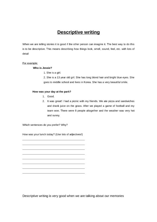 Descriptive Writing Descriptive Writing, Essay, Descriptive