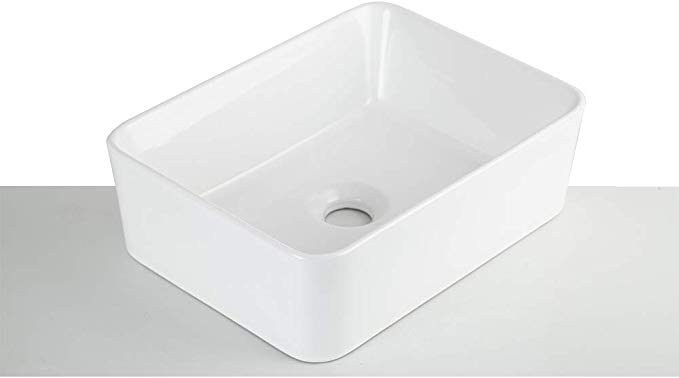 Yeenodo Ceramic Rectangular Vessel Sink 16 Inch By 12 Inch Small Vessel Sink Bathroom Sink Rect Small Vessel Sinks Rectangular Vessel Sink Vessel Sink Bathroom