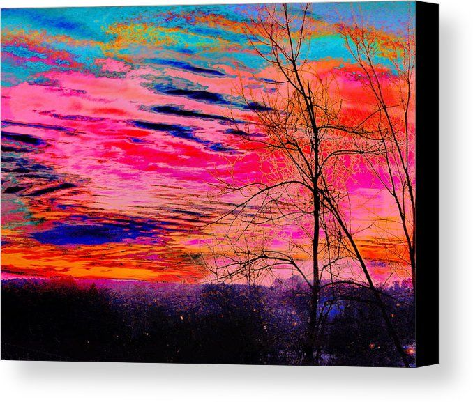 Sunset Sky Waterville Canvas Print by Expressionistartstudio Priscilla-Batzell.  All canvas prints are professionally printed, assembled, and shipped within 3 - 4 business days and delivered ready-to-hang on your wall. Choose from multiple print sizes, border colors, and canvas materials.