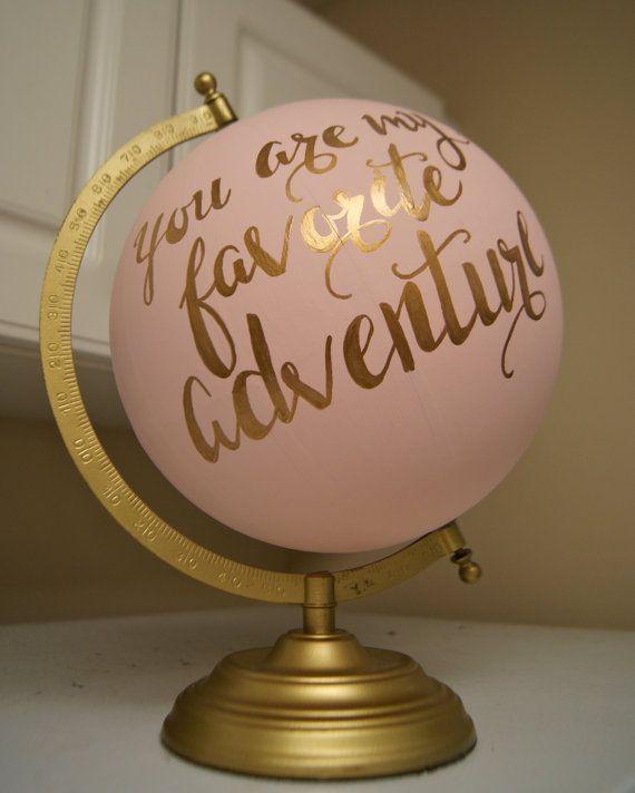 """Hand Painted 12"""" Wedding Globe, Shabby Chic, Gold Hand ..."""