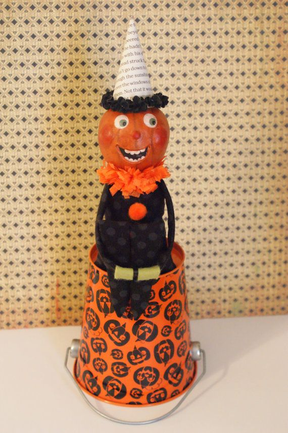 Halloween Kneehugger Vintage Inspired Kneehugger Doll Kneehugger Elf, Knee hugger Elf Pumpkin Doll Prim Doll Prim Pumpkin Folk Art Halloween