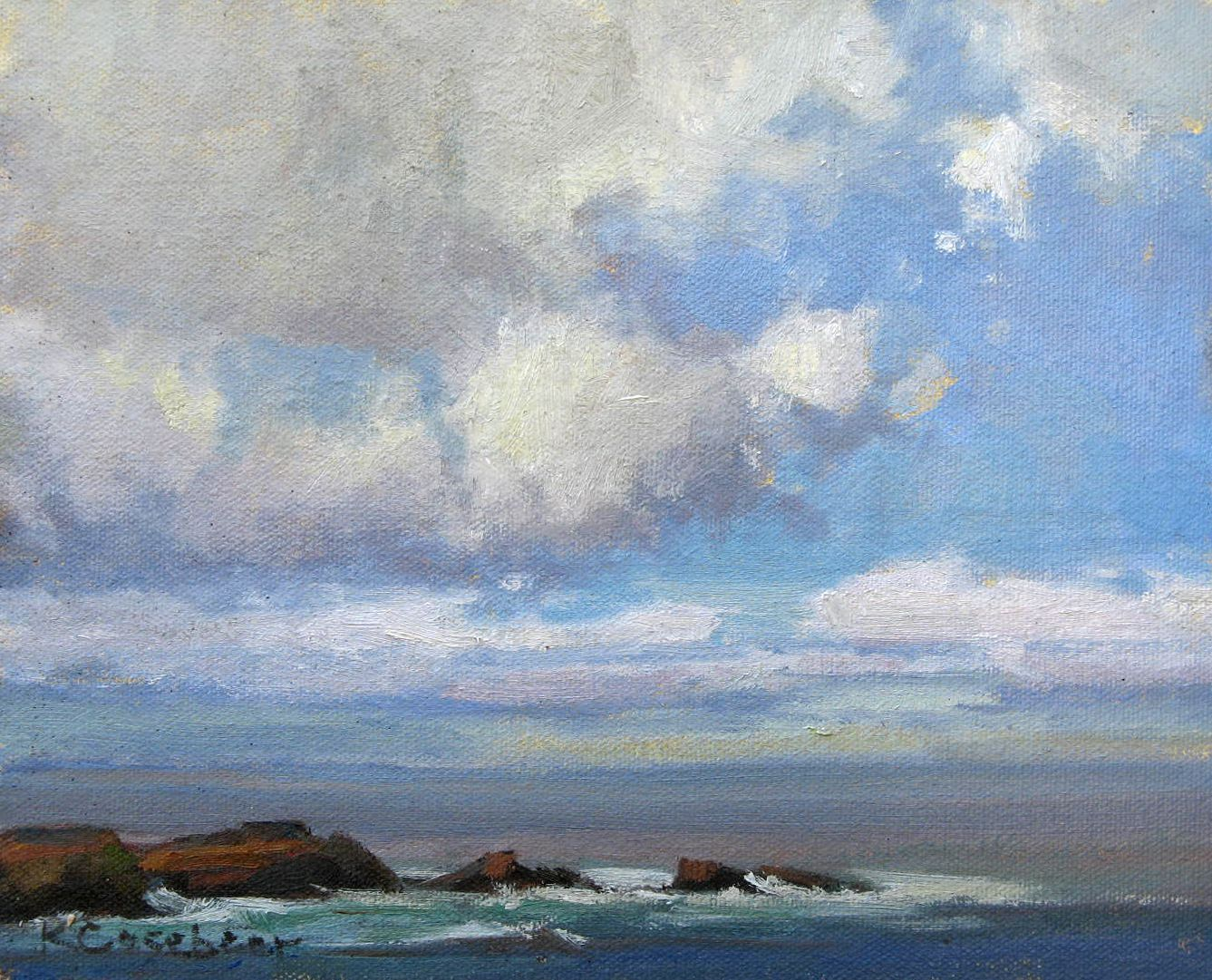 Fair Weather Clouds, oil, 8x10 . kim casebeer
