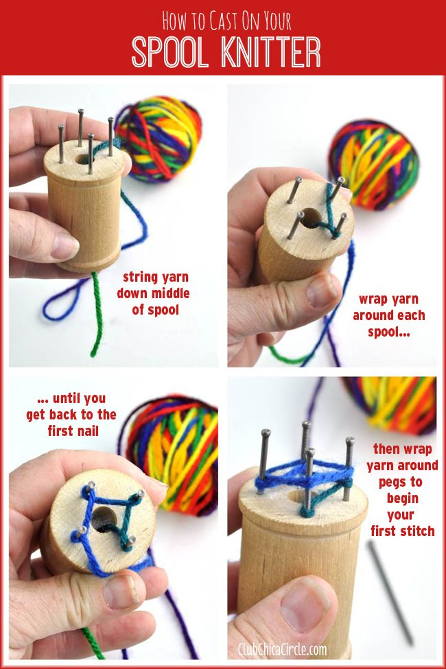 How to Cast On Homemade Spool Knitter and How to Make Your Own Spool Knitter (Knitting Noddy) #homemadetools