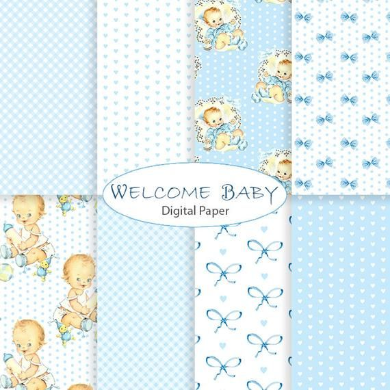 Baby Boy Digital Paper Shabby Chic Little Man backgrounds