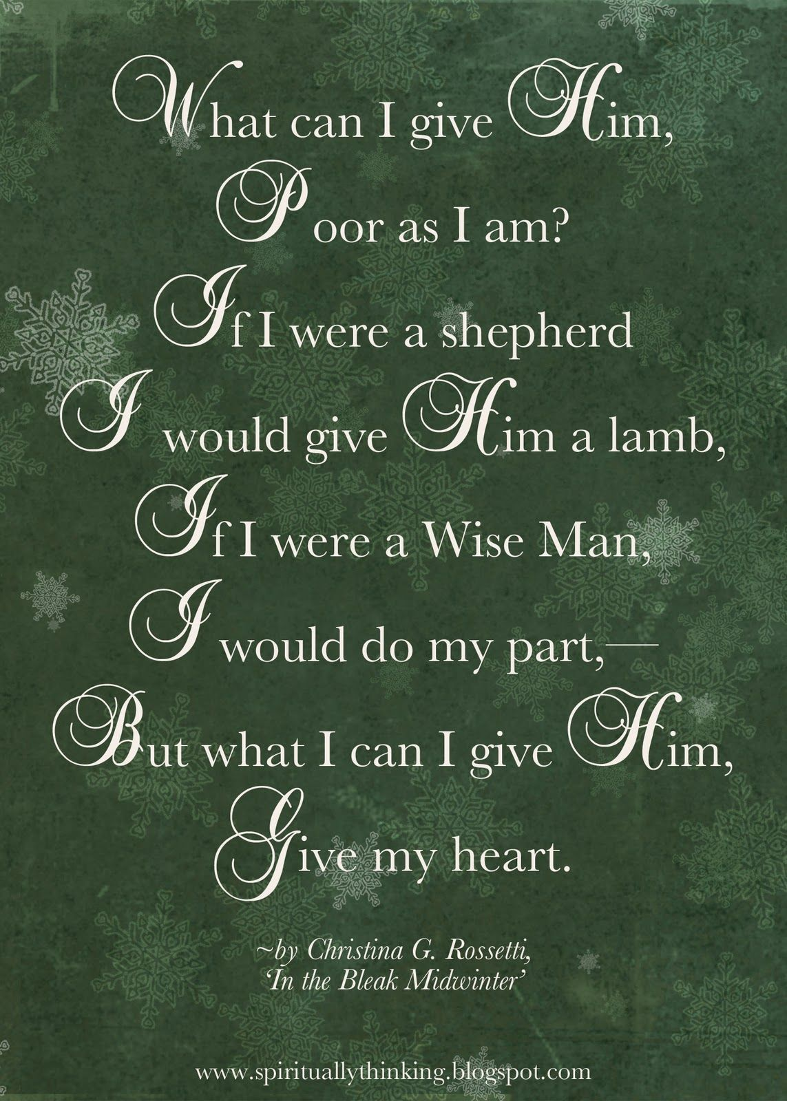 What Can I Give Him By Christina Rossetti And Spiritually Speaking