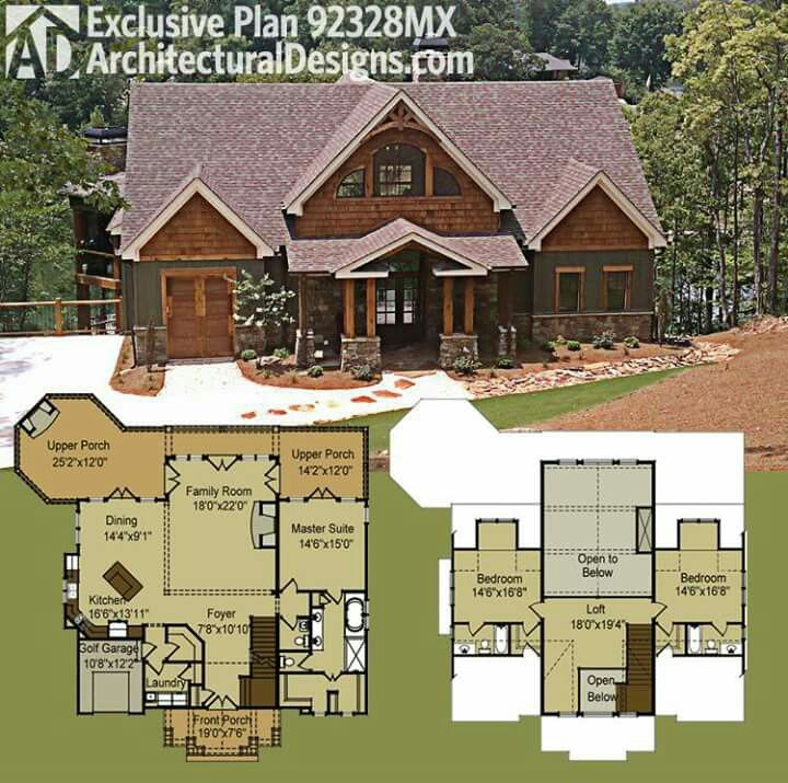 Plan 14632rk Rugged Craftsman With Room Over Garage: This Would Be Perfect..but I Don't Need A Golf Garage..a