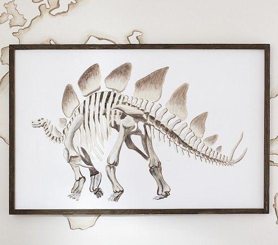 Framed Stegosaurus Art Kids Bedroom Accessories Pottery