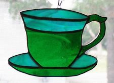 Handmade Stained Glass TEACUP SUNCATCHER (TC05)