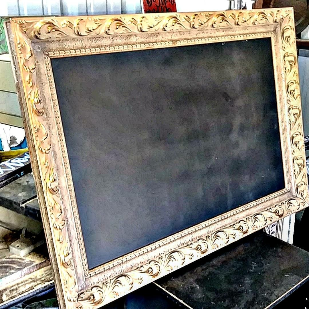 Antique gold detailed 26x36 frame repurposed with 20x30 chalkboard ...