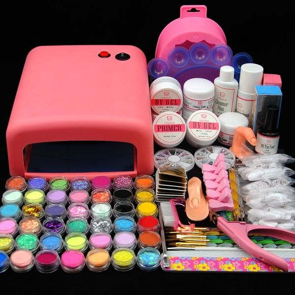 Kit Manucure Nail Art 36w Lampe Uv Blanc Rose Acrylique Glitter Uv Gel Limes A Ongles In 2020 Nail Art Uv Gel Acrylic Nail Liquid