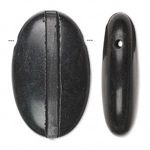 Bead, blackstone (natural), 40x25mm hand-cut top-drilled single-sided puffed oval with 3.5mm wide channel, C grade, Mohs hardness 6-1/2 to 7. Sold in