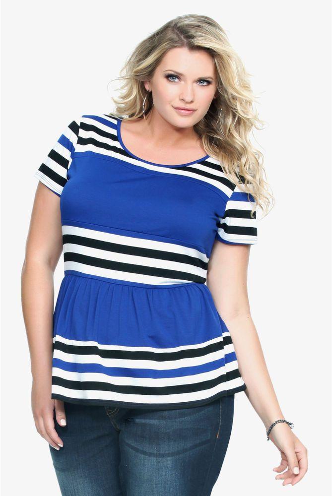 Cathy Women Plus Size 1x 2x Red White Blue Striped Tee T Shirt Polo Top Blouse