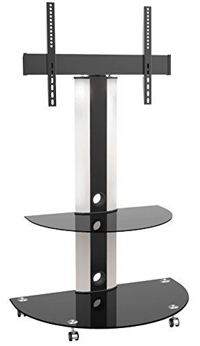 ricoo meuble tv roulettes design support pied en verre support inclinable fs0502 orientable tournant avec roulettes