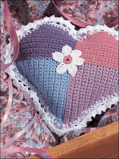 "Patchwork Heart - Fill this pretty sachet with your favorite potpourri. Then either tuck it into your lingerie drawer or give as a sweet-scented gift. Finished size: 4"". Skill Level: Easy  Designed by Katherine Eng  free pdf from freepatterns.com"