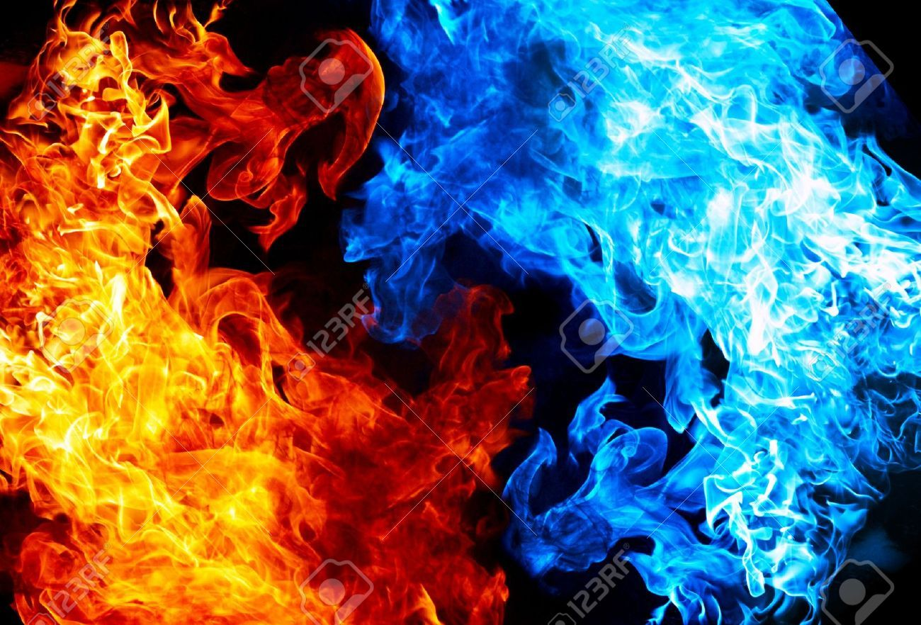 Red Fire Vs Blue Fire Fire And Ice Wallpaper Black Background Wallpaper Red Fire