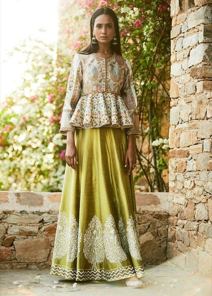 c037c2345bf022 Raw Silk Embroidered Skirt with embroidered Peplum Top Blouse ...