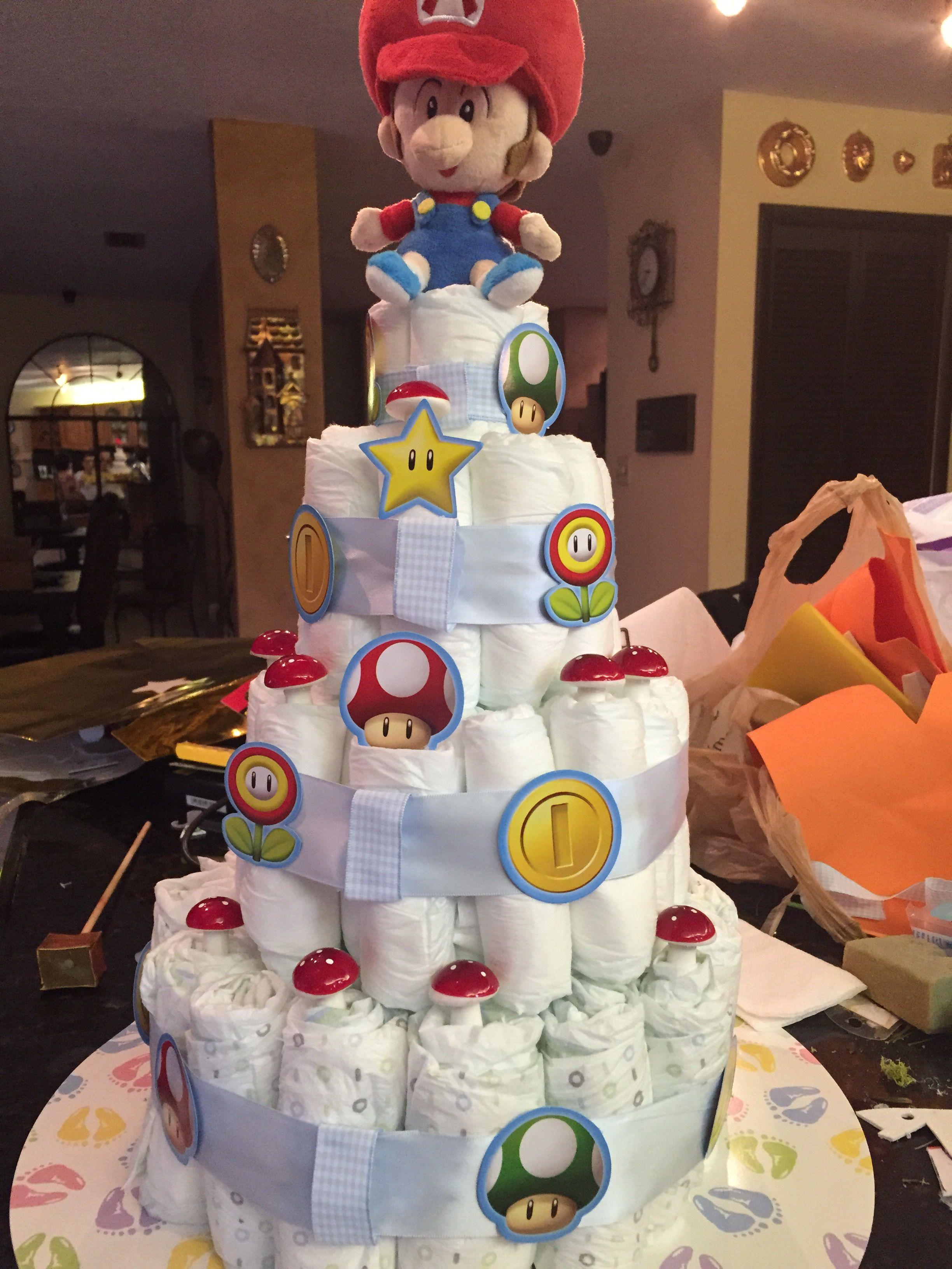 Baby Shower Diaper Cake Baby Mario Super Baby Mario Shower