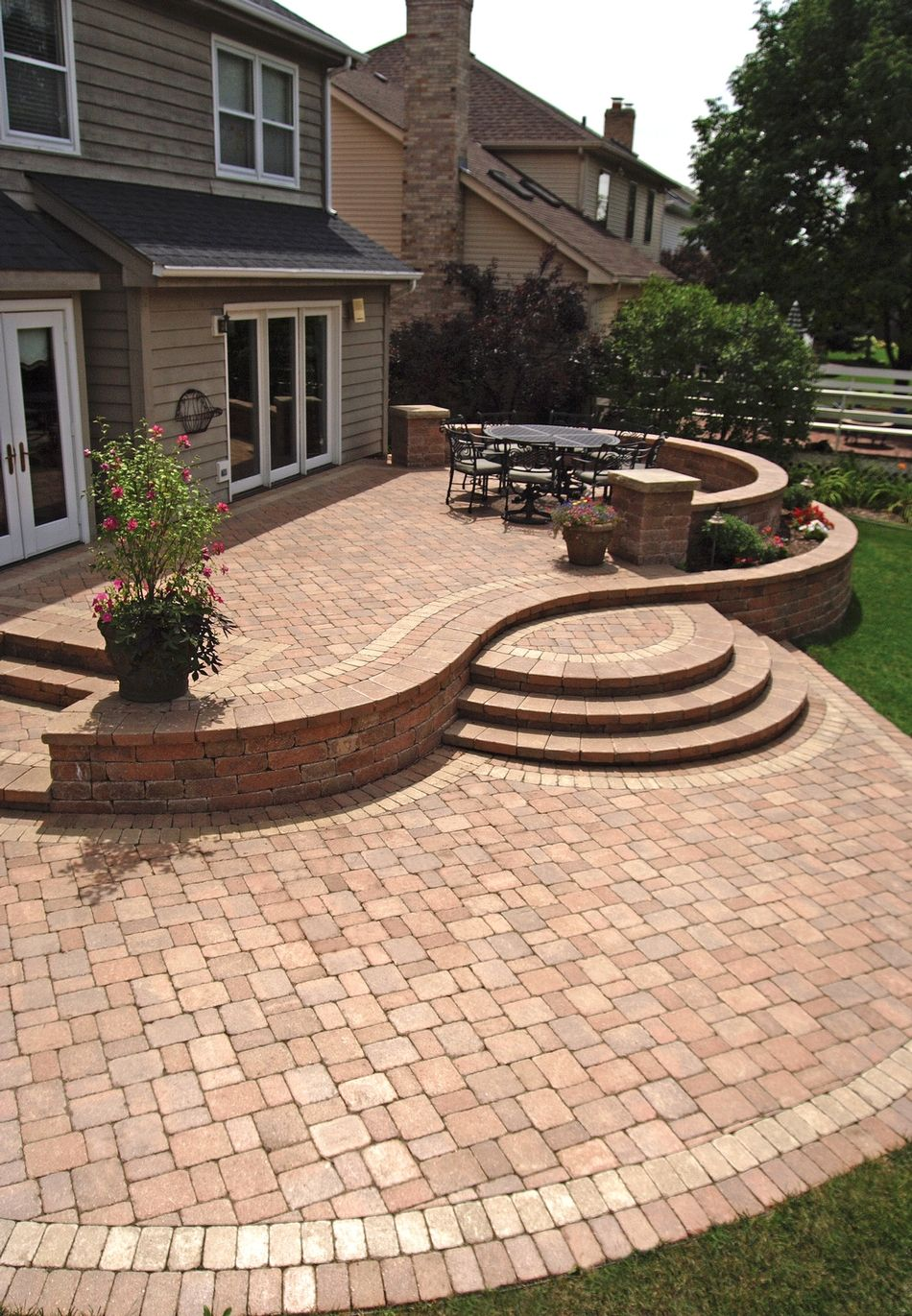 Warm red. Put fire pit where table is and table and grill ... on Red Paver Patio Ideas id=84220