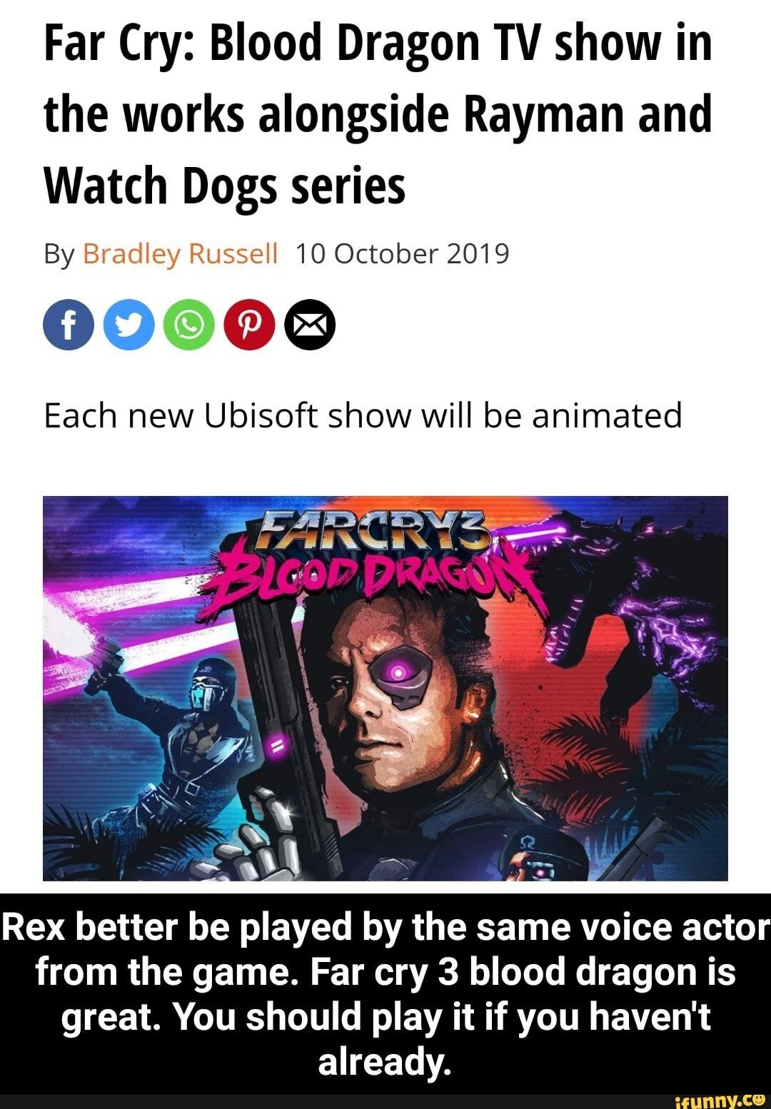 Far Cry Blood Dragon Tv Show In The Works Alongside Rayman And