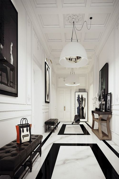 Transitional Hallway With Nuevo Living HGML260 Dome Large Pendant Wainscoting Simple Marble Floors Crown Molding