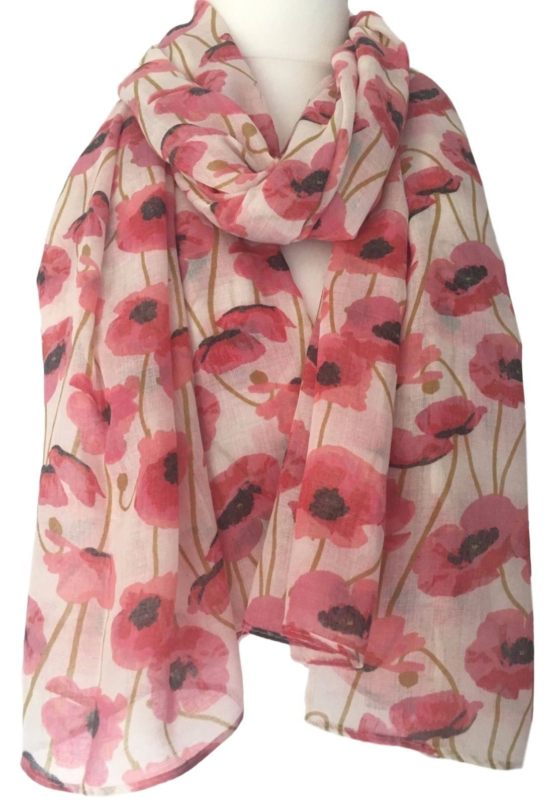 d1f5a1ae391bb Cream Red Poppy Scarf Ladies Large Flowers Wrap Floral Print Poppies Shawl
