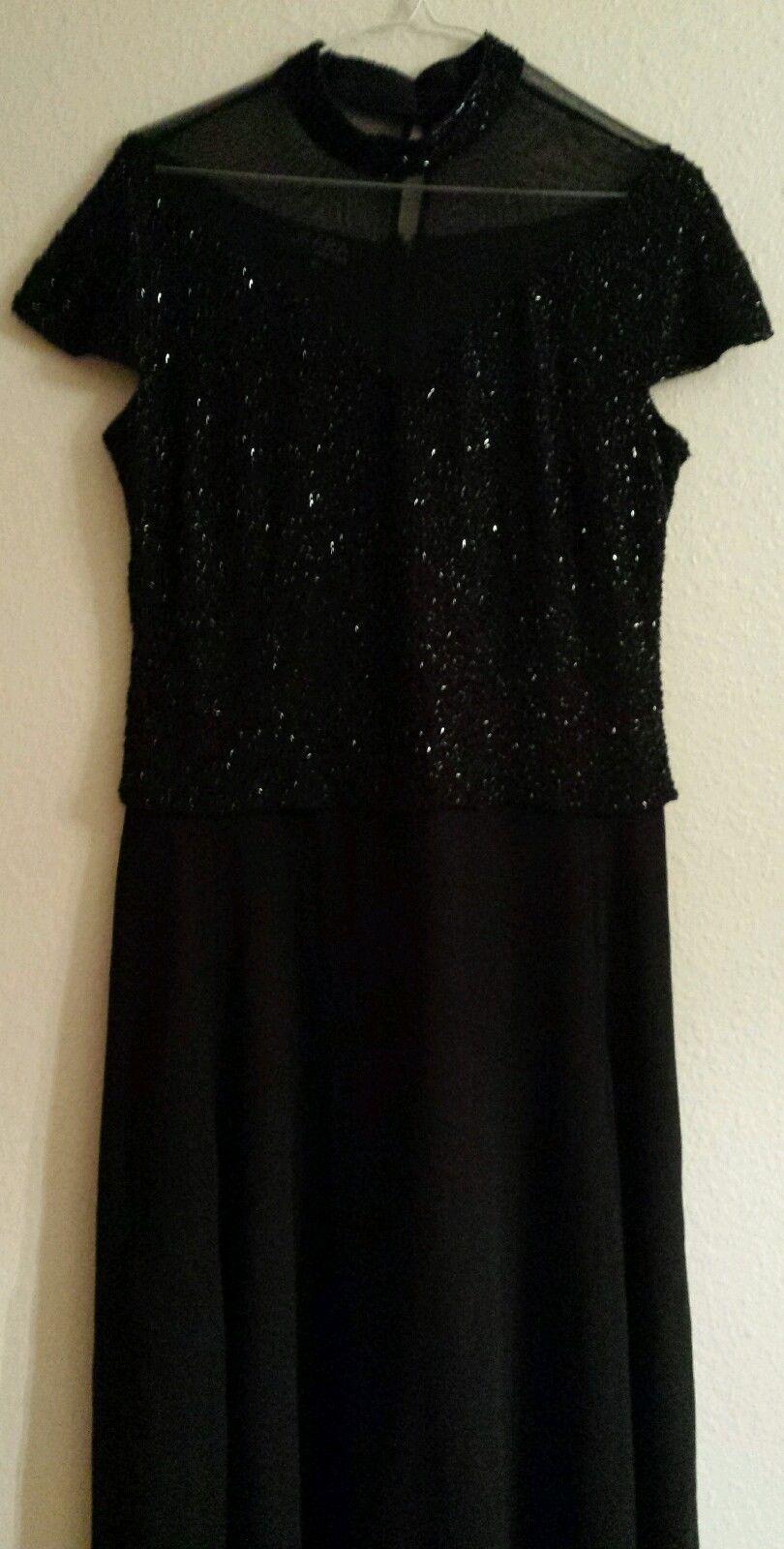 Awesome amazing jkara new york long formal black dress beaded top