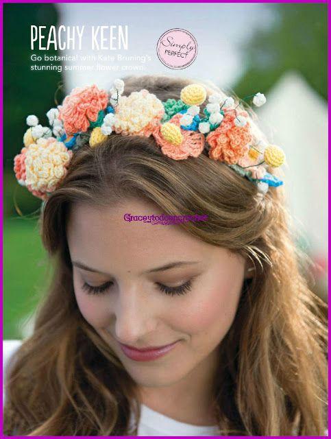 Crochet wreath for the head...Corona de flores en crochet para la ...