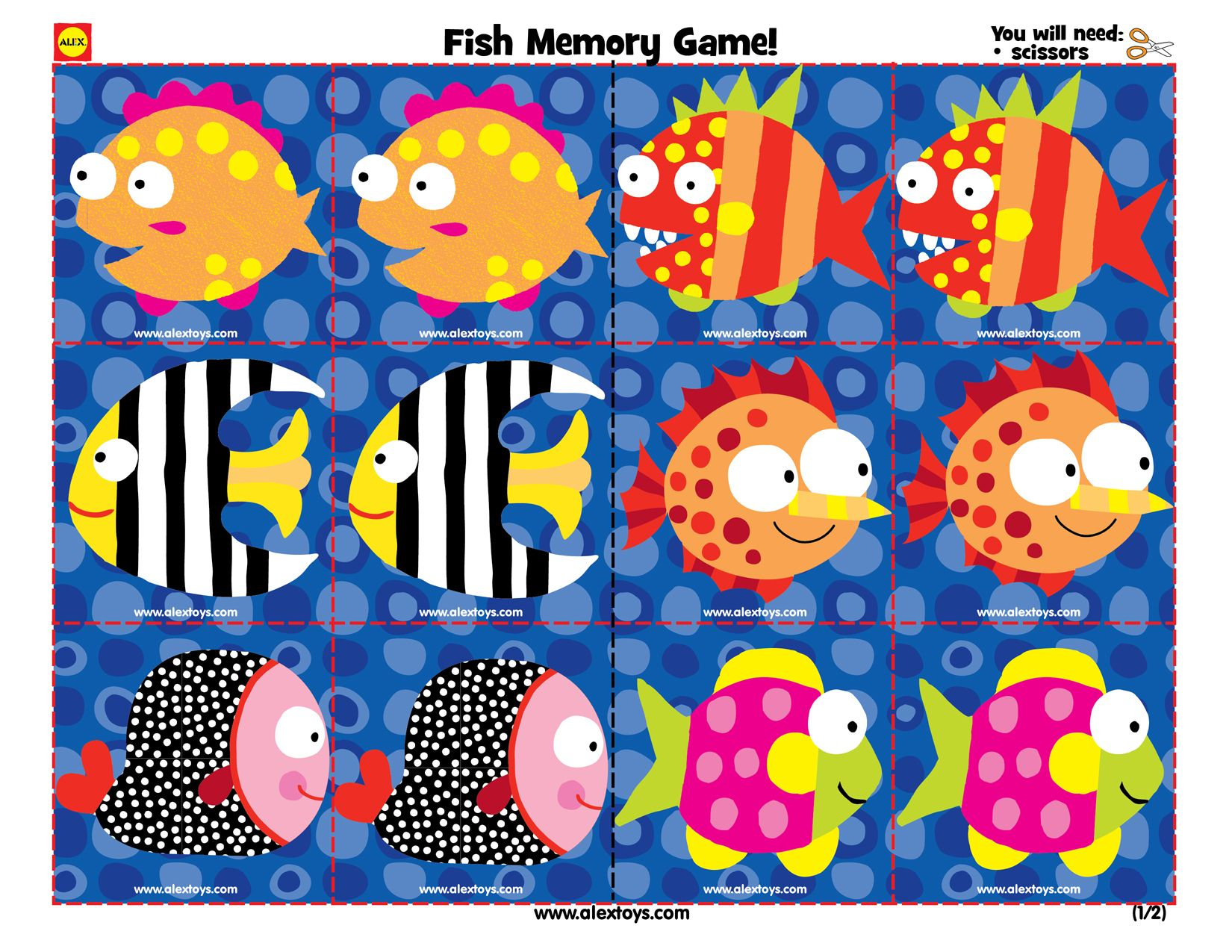 Printable color matching games for preschoolers - Printable Fish Memory Game For Toddlers Ece Crafts Kids