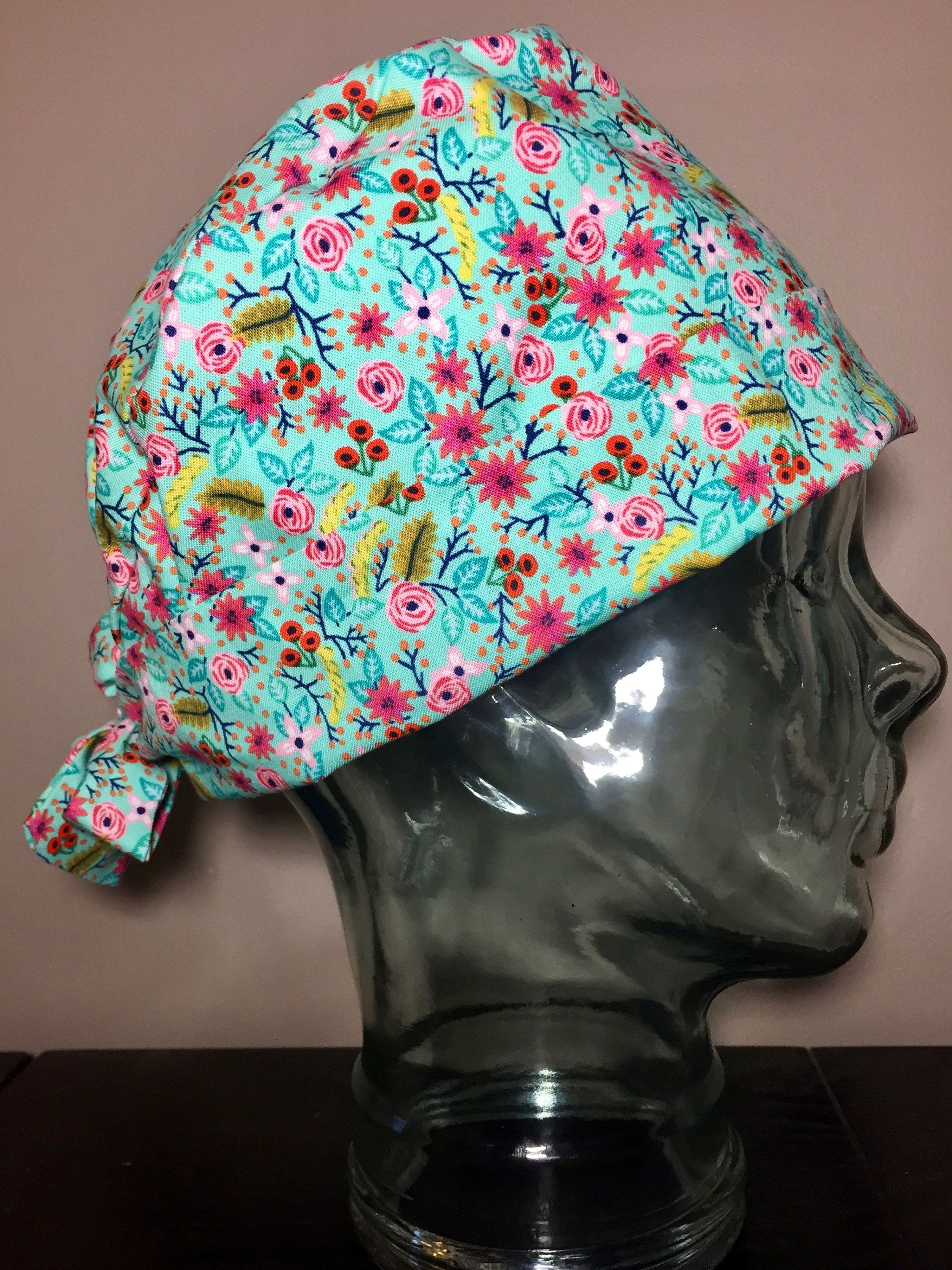 Little Pink Roses on Aqua Surgical Scrub Hat 83a5934ff77