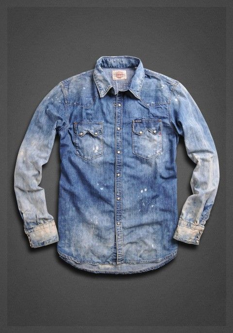 36a2113a24 Denim shirt with double pockets with tarnishing and application on the back