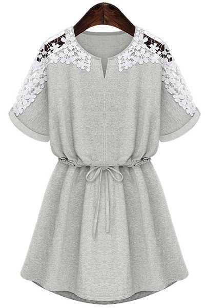 Lace Splicing Tie-Up Short Sleeve Dress