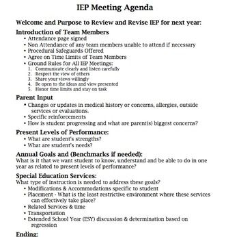 Iep Meeting Agenda Iep Pinterest Iep Meetings Classroom And